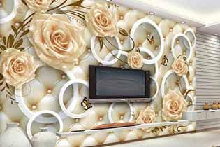 کاغذ دیواری حلقه و گل سفید سه بعدی w-005