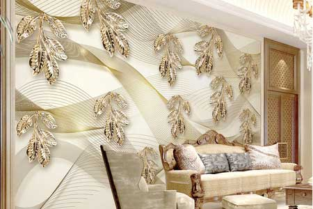 طرح کاغذ دیواری برگ طلایی سه بعدی 020