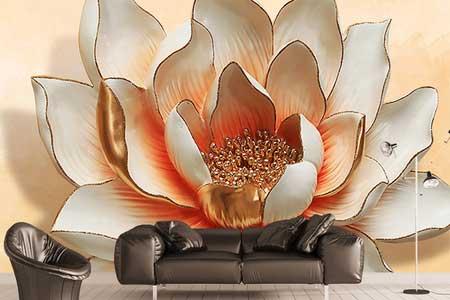 طرح کاغذ دیواری سه بعدی  گل نیلوفر تک024