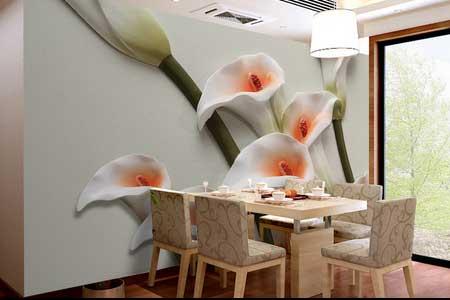 طرح کاغذ پوستر دیواری سه بعدی  گلهای شیپوری 028