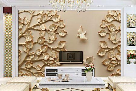 طرح کاغذ دیواری سه بعدی برگ وپرنده گچبری030